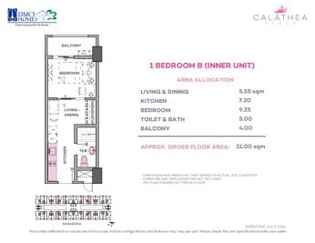 1 Bedroom B 31 sq meters