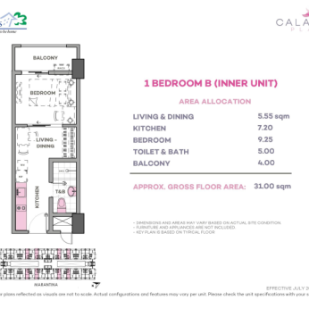 1 Bedroom B 31 sq meters