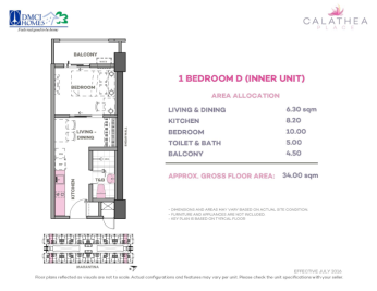 1 Bedroom D 34 sq meters