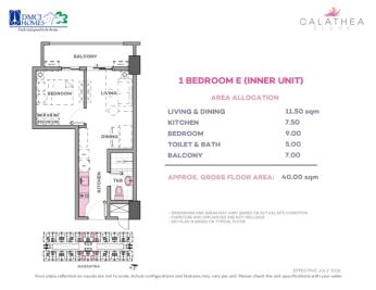 1 Bedroom E 40 sq meters