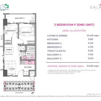 2 Bedroom F 53.5 sq meters