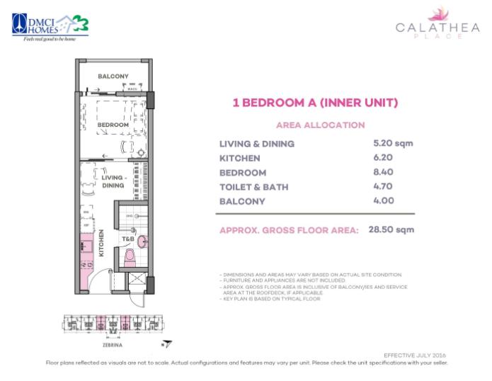 1 Bedroom A 28.5 sq meters