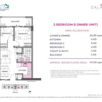 2 Bedroom B 47 sq meters