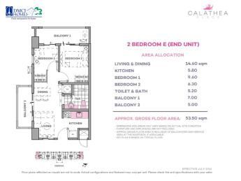 2 Bedroom E 53.5 sq meters