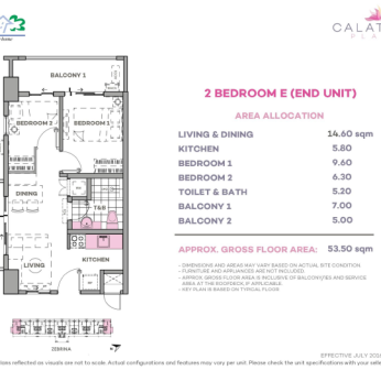 2 Bedroom E 53.5 sq meters