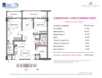 2 Bedroom Plus Den 75.5 sq meters