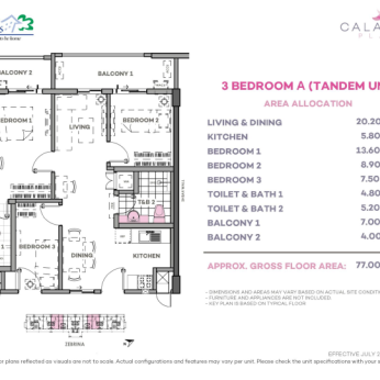 3 Bedroom A Tandem 77 sq meters